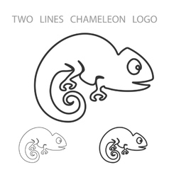 Chameleon two lines logo minimalism style vector