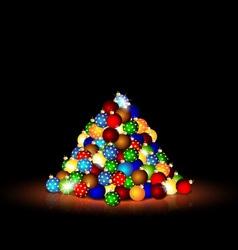Christmas balls in the dark room vector