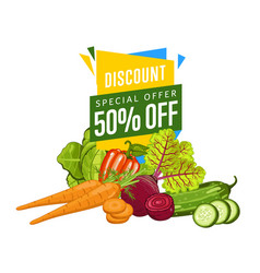 discount sale poster with fresh vegetable vector image vector image