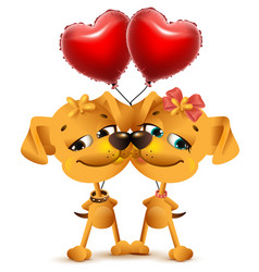 dog couple love and red balloons of heart shape vector image