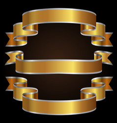 gold silver line ribbon set on black background vector image