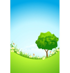 Green Landscape with Tree vector image