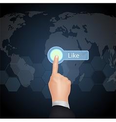 Hand choose like on virtual screen vector