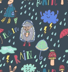Happy Summer Rain Seamless Pattern vector image
