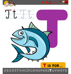 Letter t with cartoon tuna fish vector