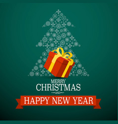 Merry christmas and happy new year card with red vector
