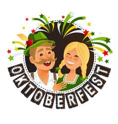 oktoberfest in traditional german bavarian costume vector image