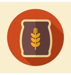 Sack of grain retro flat icon with long shadow vector image