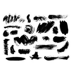 Set of bushy different black brushstrokes vector