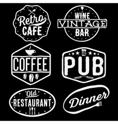Set of vintage cafe pubwine bar and restaurant vector