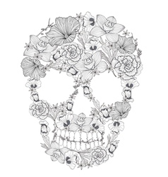 Skull from flowers vector image vector image