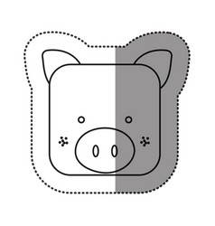 Sticker cute pig animal head expression vector