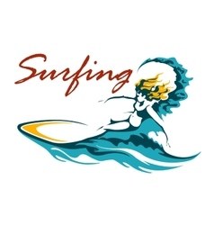 Surfing club or camp emblem vector