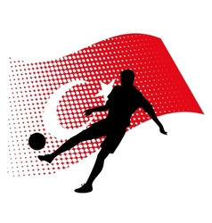 turkey soccer player against national flag vector image