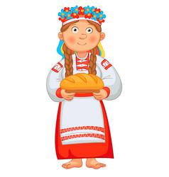 ukrainian girl meets honored guests vector image vector image