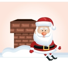 Xmas santa claus chimney sit snow design isolated vector
