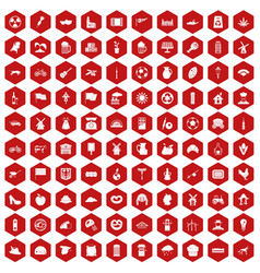 100 mill icons hexagon red vector