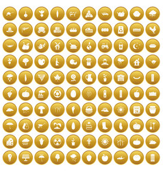 100 pumpkin icons set gold vector