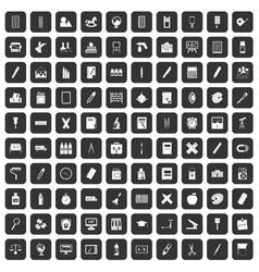 100 stationery icons set black vector