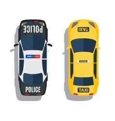 Police and taxi cars top view set vector