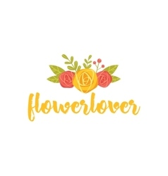 Hand drawn writing flower logo label vector