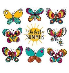 Summer card with butterflies and stylish lettering vector