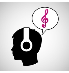 head silhouette listening music clef vector image