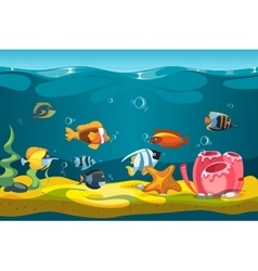 Underwater sea with fishes and rocks vector