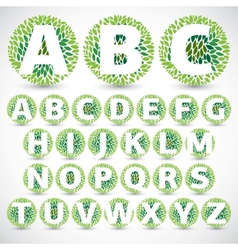 Green leaves font vector