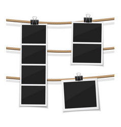 Set of photobooth and photos hanged on rope vector
