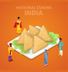 Isometric india national cuisine with samosa vector