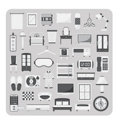 Flat icons bedroom and furniture set vector