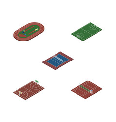 Isometric lifestyle set of tennis soccer b-ball vector