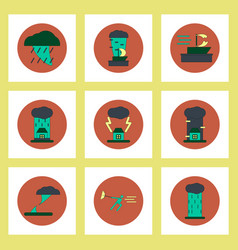 collection of icons in flat style tornado vector image