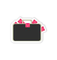 Stylish sticker on paper case full of money vector