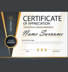 Gold and black elegance horizontal certificate vector