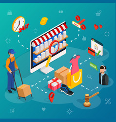 Online shopping with desktop pc concept e vector