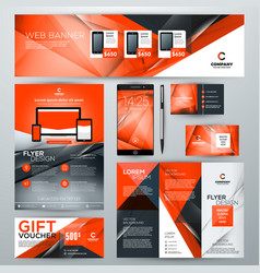 Set of stationery design templates corporate vector