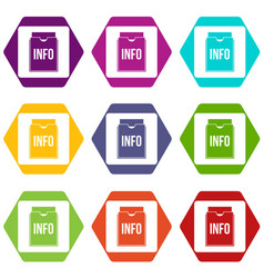 info folder icon set color hexahedron vector image