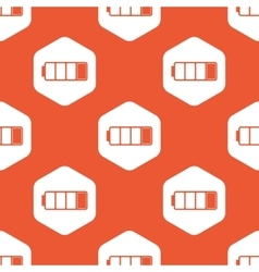Orange hexagon low battery pattern vector
