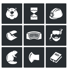 Beaver icons set vector