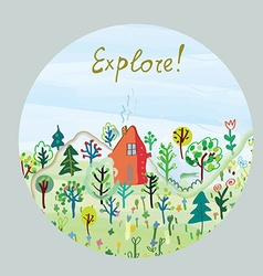 Explore nature card - round design vector
