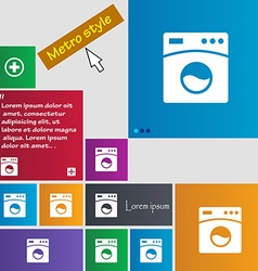 Washing machine icon sign buttons modern interface vector