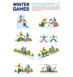 Flat infographic of winter vector