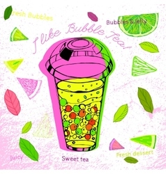 Hand drawn bubble tea vector