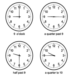 Learning Time Clock set vector image