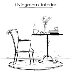 Livingroom interior for reading or relaxhand drawn vector