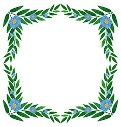 A frame made of green plants with flowers vector image