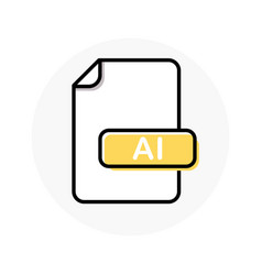 Ai file format extension color line icon vector