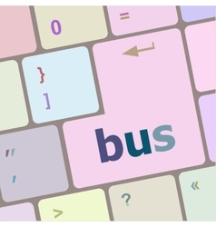 Bus word icon on laptop keyboard keys vector